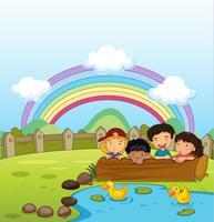 Enfants regardant les canetons vecteur