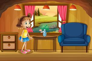 Une jolie jeune fille dans une cabane