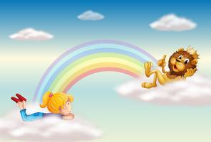 Une fille et un roi lion à travers l'arc-en-ciel