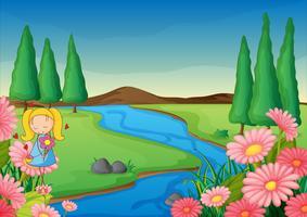 une rivière et une fille vecteur