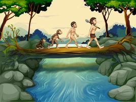 L'évolution de l'homme à la rivière vecteur