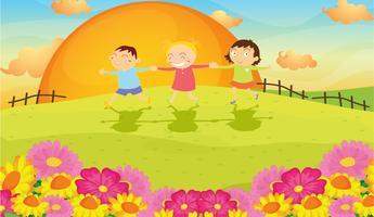 les enfants et le paysage vecteur