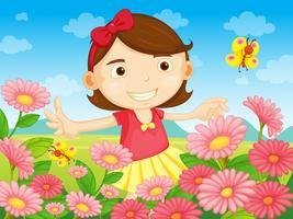 Les fleurs et la jolie femme vecteur