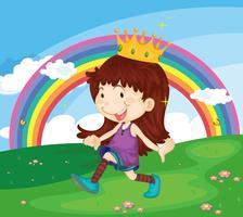 Illustration de bande dessinée d'une fille dans le parc