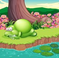 Un monstre couché au bord de la rivière vecteur