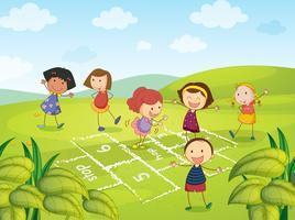 Six jeunes filles jouant vecteur