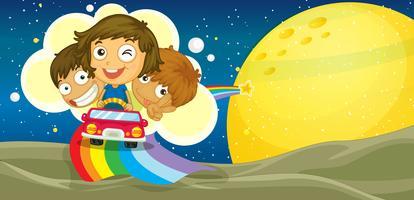 enfants conduisant la voiture vecteur