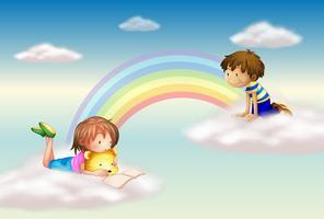 Un arc en ciel avec des enfants vecteur
