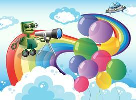 Des robots dans le ciel avec un arc en ciel et des ballons
