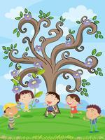 enfants sous un arbre vecteur