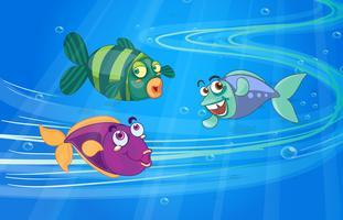 Trois poissons avec des visages