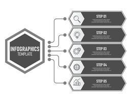 Modèle d'infographie métier avec couleur grise vecteur