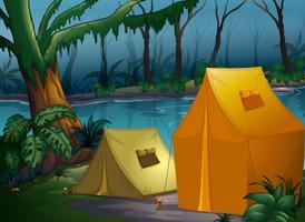 Camping dans la jungle vecteur