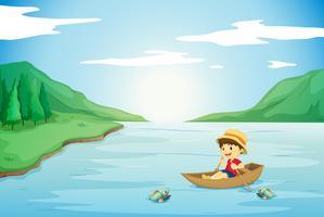 un garçon ramer dans un bateau vecteur