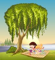 filles et arbre vecteur