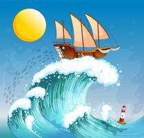 Un bateau au dessus des vagues géantes vecteur