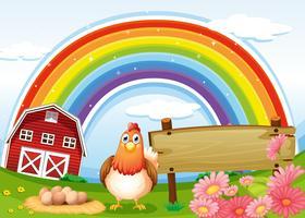 Une poule à la ferme avec un arc-en-ciel et un panneau vide