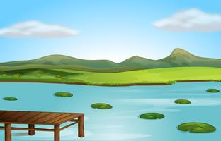 Une jetée et une rivière vecteur