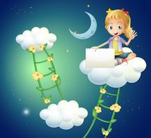 Une fille assise au-dessus d'un nuage tenant un affichage vide