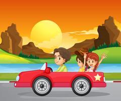 Un garçon voyageant avec deux jolies filles vecteur