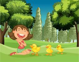 Une fille heureuse et les trois canetons vecteur