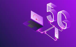 vecteur de génération 5G de concept internet, réseau internet sans fil.