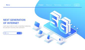 Systèmes sans fil de réseau mobile 5G isométrique et illustration vectorielle internet. vecteur