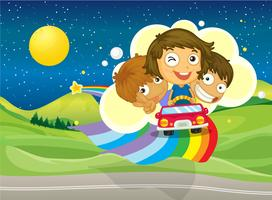 Trois enfants à cheval sur une voiture en passant au-dessus de l'arc-en-ciel vecteur