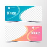 Modèle de bannière coloré abstrait business, jeu de cartes bannière horizontale.