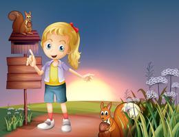 Une fille au sommet de la colline avec deux écureuils et un panneau vide vecteur