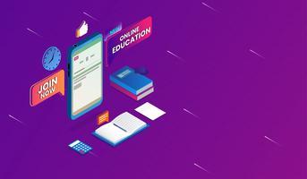 Vector Education en ligne avec smartphone Concept, e-learning, cours de formation en ligne, design isométrique.