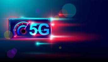 Internet sans fil 5G avec téléchargement à haute vitesse et téléversement sur un smartphone Vecteur. vecteur