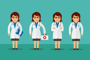 Ensemble de femme médecin vecteur