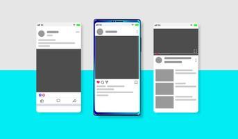 Nouveau modèle de flux, de post et de page d'accueil de médias sociaux modernes avec smartphone et fond modifiable vecteur