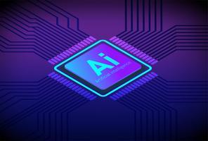 Vecteur de plat concept isométrique de la technologie future intelligence artificielle du processeur.