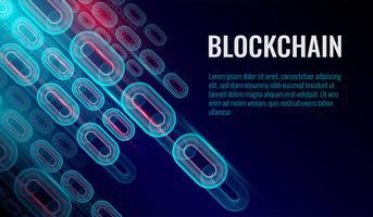 Arrière-plan de la chaîne de blocs, la chaîne est constituée du concept de connexions de données réseau. Vecteur