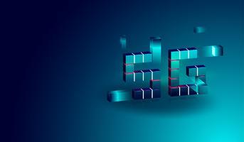 Bannière concept isométrique de technologie 5G avec boîte flottante 3D. vecteur