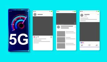 Réseau haute vitesse 5G sur la maquette de médias sociaux en ligne sur fond bleu