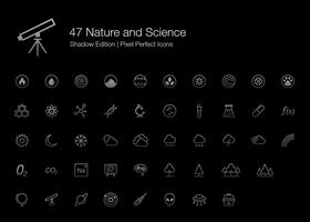 Nature et Science Pixel Perfect Icons (style de trait) Shadow Edition. vecteur