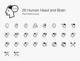 26 Tête humaine et cerveau Pixel Icônes parfaites (style de trait). vecteur