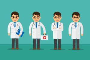 Ensemble de médecin masculin vecteur