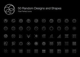 50 motifs et formes aléatoires Pixel Perfect Icons (Style de ligne Édition Ombre). vecteur