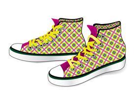 Sneakers isolés. Chaussures de sport à la mode en tissu vecteur