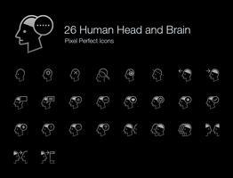 26 Tête humaine et cerveau Pixel Icônes parfaites (Style de ligne Édition Ombre). vecteur