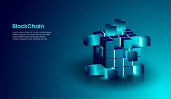 Concept de technologie isométrique blockchain et crypto-monnaie, forme réaliste de blockchain connectée entre elles. vecteur