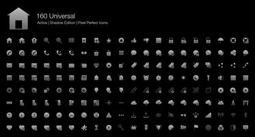 160 icônes universelles de pixel Web parfait (édition remplie d'ombre de modèle)