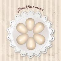 Menu du petit déjeuner avec des oeufs cuits sur un motif rétro sans soudure.