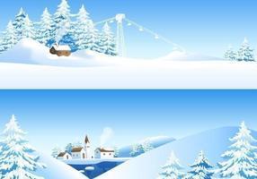 Pack de papier peint vecteur paysage hivernal