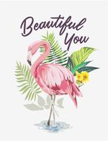 slogan avec flamant rose sur fond de forêt exotique