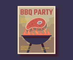 Affiche rétro de BBQ vecteur